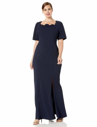 Adrianna Papell Women's Plus Size Short Sleeve Crepe Gown with Scalloped Neckline