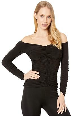 Norma Kamali KAMALIKULTURE by Off-Shoulder Slinky Top (Black) Women's Clothing