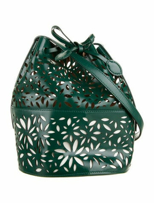 Alaia Leather Laser Cut Bucket Bag Green