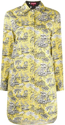 STAUD embroidered mini shirt dress