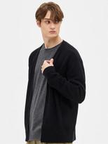 System Homme V-Neck Zip-Up Knit Cardigan_Black