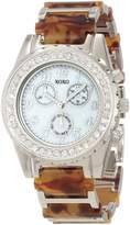 XOXO Women's XO5437 Tortoise Bracelet with Clear Rhinestones Bezel Watch