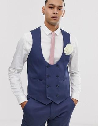 Asos Design DESIGN wedding super skinny suit waistcoat in stretch cotton in indigo blue