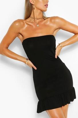 boohoo Bandeau Frill Hem Mini Dress