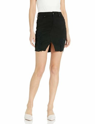CG JEANS Skirt for Juniors Ripped Distressed Fringe Hem Cute and Sexy