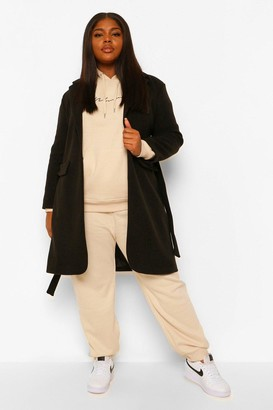 boohoo Plus Belted Button Up Wool Look Coat