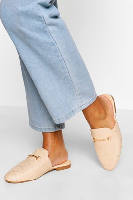 boohoo Quilted Basic Mule Loafers
