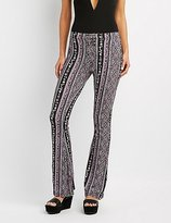 Charlotte Russe Printed Lace-Up Flare Pants
