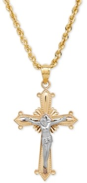 Macy's Two-Tone Crucifix Cross Pendant Necklace in 14k Gold and White Gold
