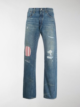 Junya Watanabe x Levi's mid rise striped panel jeans