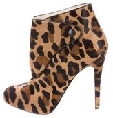 Brian Atwood Leopard Print Ponyhair Booties