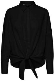 Vero Moda Helly Tie Front Shirt Black - XS