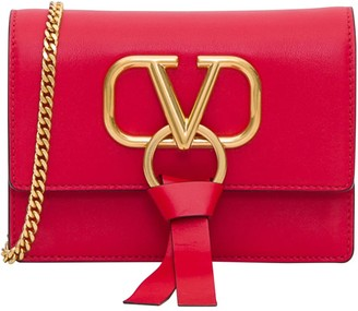 Valentino Garavani V Leather Pochette With Shoulder Strap