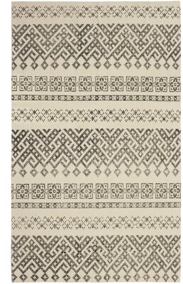 French Connection Shamus Stonewash Printed Cotton Beige/Gray Area Rug Rug Size: Rectangle 4' x 6'