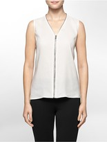 Calvin Klein Metallic Piped Zip Front V-Neck Sleeveless Top