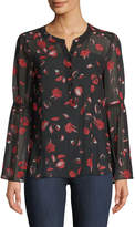 Kensie Floating Petals Bell-Sleeve Blouse