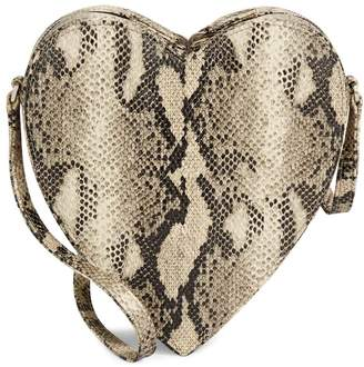 Brother Vellies Python-Print Heart Crossbody