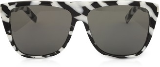 Saint Laurent SL1 014 Black and White Zebra Striped Acetate Frame Sunglasses