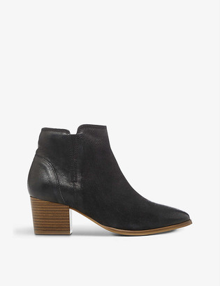 Dune Payge block-heel leather ankle boots