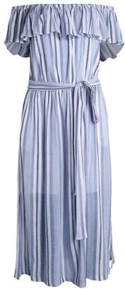 MICHAEL Michael Kors Belted Ruffle Cotton Midi Dress