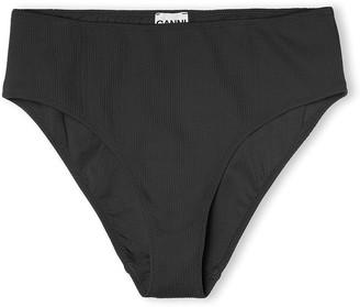 Ganni Textured Bikini Bottom in Black