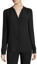 Michael Kors Studded Georgette Split-Neck Blouse, Black/Silver