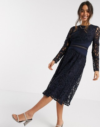 Asos DESIGN long sleeve midi prom dress in lace with circle trim details in navy