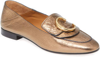 Chloé Metallic Leather Medallion Moccasin Loafer Mules