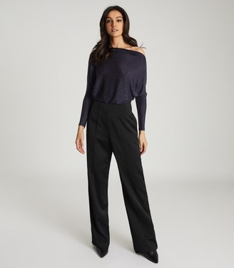 Reiss SIENNA METALLIC STRAIGHT NECK BODYSUIT Navy