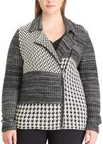 Chaps Plus Size Printed Sweater Jacket