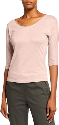 Max Mara Leisure Metallic Elbow-Sleeve Round-Neck Tee