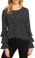 CeCe Tiered Ruffle Bell Sleeve Blouse