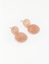 John Lewis Laser Cut Drop Earrings, Rose Gold