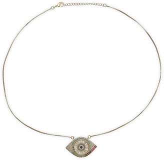 Eye Candy La Luxe 14K Goldplated Sterling Silver & Crystal Evil Eye Pendant Necklace
