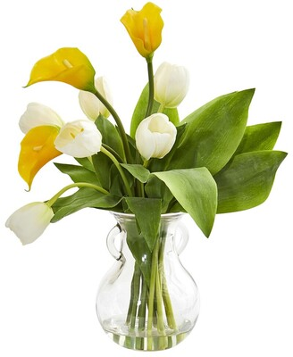 Nearly Natural Calla Lily & Tulips Artificial Arrangement In Decorative Vase