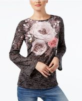 INC International Concepts Printed Burnout Top, Created for Macy's