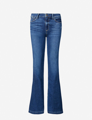 Paige Ladies Blue Cotton Ripped Genevieve Flared High-Rise Jeans, Size: 23