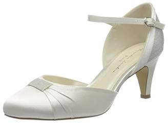 Paradox London Pink Paradox London Women's Annie Satin Wedding Shoes Bridal Mid Heel Court Shoes