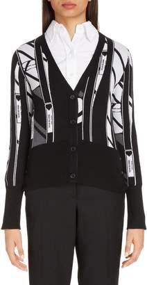Thom Browne Tie Collage Merino Wool Cardigan