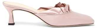 Wandler Isa Crystal-trimmed Satin Mules - Light Pink