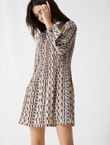Maje Printed pleated dress, Peter Pan collar
