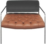 Hawkins Brown leather and velvet armchair