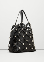 MANGO Woven Lattice Bucket Bag
