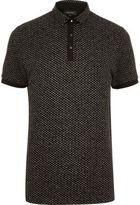 River Island MensBlack jacquard polo shirt