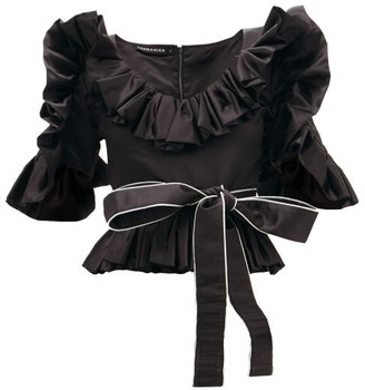 Germanier - Ruffled Upcycled-satin Belted Blouse - Black