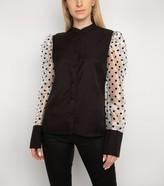 New Look Gini London Spot Mesh Puff Sleeve Shirt