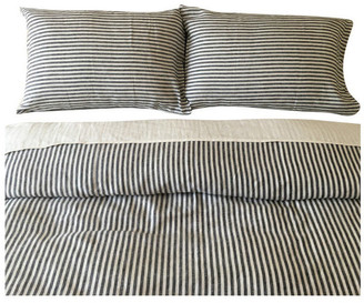 Superior Custom Linens Slate & White Striped Duvet Cover Set, Handmade, Natural Linen, Full/Q