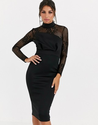 Asos DESIGN long sleeve lace scuba mix pencil midi dress