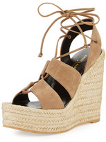 Saint Laurent Suede 95mm Espadrille Wedge Sandal, Taupe