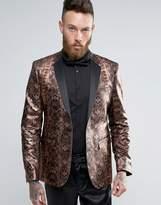 Asos Skinny Blazer in Metallic Snake Print